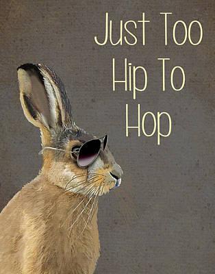 Rabbit Too Hip To Hop Grey Art Print by Kelly McLaughlan