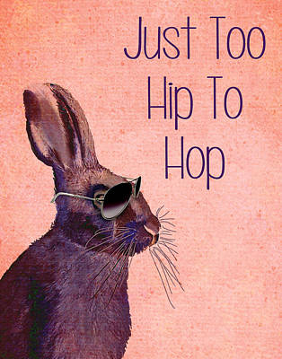 Rabbit Too Hip To Hop Pink Art Print by Kelly McLaughlan
