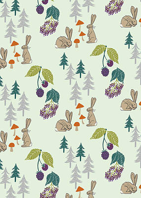 Painting - Rabbits Foraging In The Forest Vector Coordinate Pattern.jpg by Laura Thompson