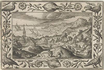 Rabbits Hunting, Adriaen Collaert, Eduwart Van Hoeswinckel Art Print by Adriaen Collaert And Eduwart Van Hoeswinckel