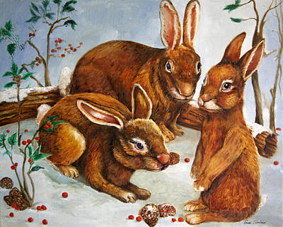 Rabbits In Snow Print by Enzie Shahmiri
