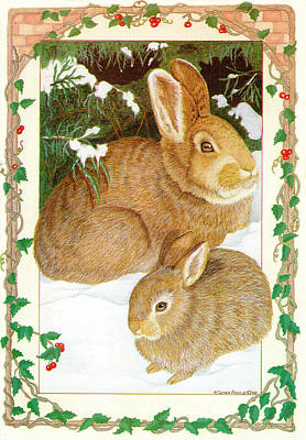 Youngsters Mixed Media - Rabbits In The Snow by Sally  Evans