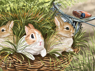 Digital Painting - Rabbits by Veronica Minozzi