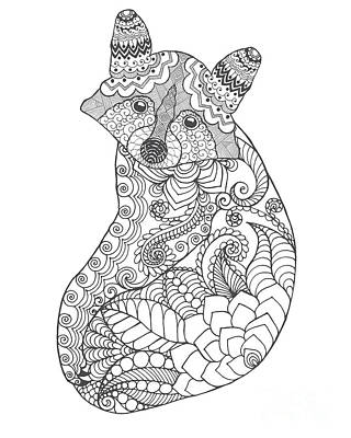 Koala Wall Art - Digital Art - Raccoon. Black White Hand Drawn Doodle by Palomita
