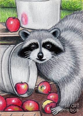 Raccoon -- Caught In The Act Art Print by Sherry Goeben