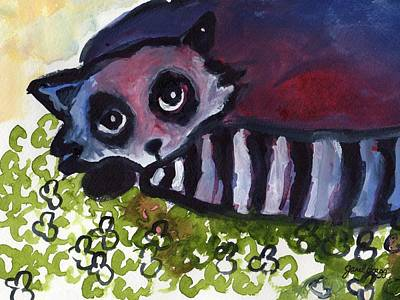 Raccoon Mixed Media - Raccoon In Clover Patch by Janel Bragg