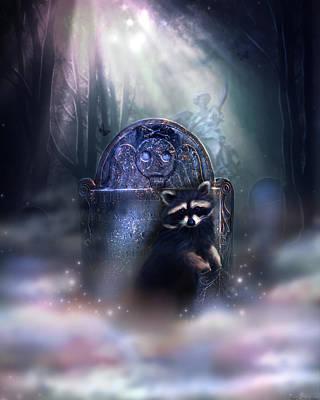 Fuzzy Digital Art - Raccoon Spirit by Kerri Ann Crau