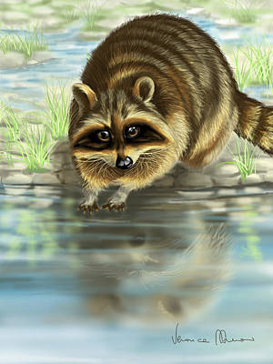 Raccoon Wall Art - Painting - Raccoon by Veronica Minozzi