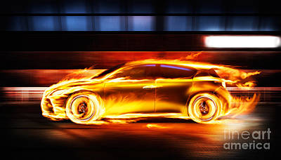 Sportscar Photograph - Race Car In Burning Flames In A Tunnel by Oleksiy Maksymenko