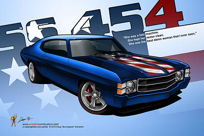 Digital Art - Race Chevelle by Doug Schramm