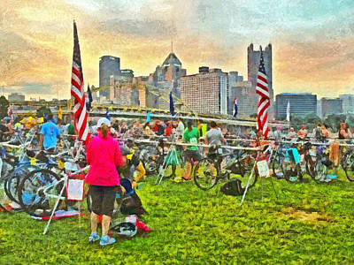 Digital Art - Race Day Dawning At The Pittsburgh Triathlon 2013 by Digital Photographic Arts