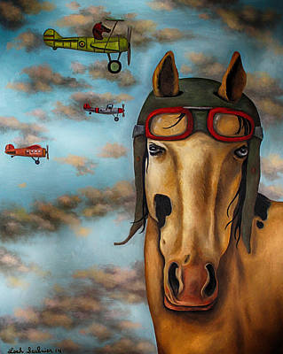 Goggle Painting - Race Horse Edit 3 by Leah Saulnier The Painting Maniac