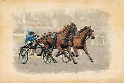 Harness Racing Painting - Race Horses by Baranov Viacheslav