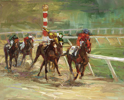 Sport Painting - Race Horses by Laurie Hein
