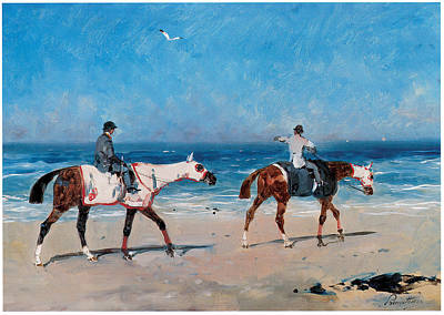 Race Horse Painting - Race Horses On The Beach by Rene Princeteau