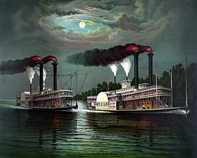 Paddler Wall Art - Painting - Race Of The Steamers Robert E Lee And Natchez by War Is Hell Store