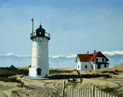Point Guard Painting - Race Point Lighthouse Provincetown Cape Cod Massachusetts by Christine Hopkins