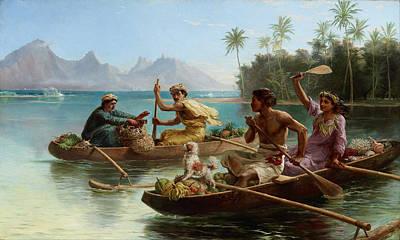 Race To The Market Tahiti Art Print by Nicholas Chevalier