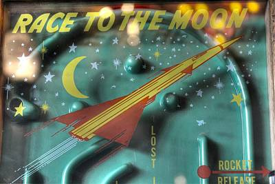 Race To The Moon Print by Jane Linders