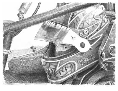 Racecar Driver Pencil Portrait  Art Print by Mike Theuer