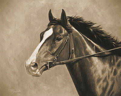 Bay Thoroughbred Horse Painting - Racehorse Painting In Sepia by Crista Forest