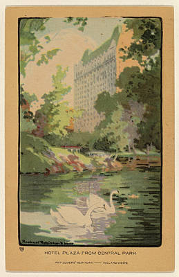 Elmer Drawing - Rachael Robinson Elmer, Hotel Plaza From Central Park by Quint Lox