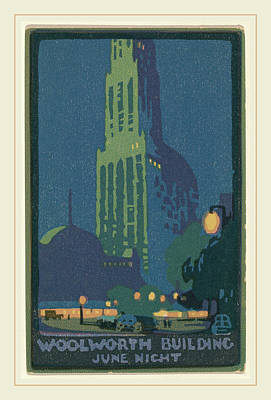 Elmer Drawing - Rachael Robinson Elmer, Woolworth Building June Night by Litz Collection