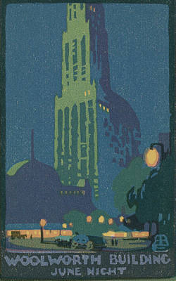 Robinson Drawing - Rachael Robinson Elmer, Woolworth Building June Night by Quint Lox
