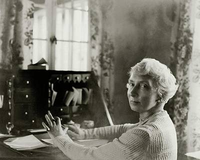 Rachel Crothers Sitting At A Desk Print by Florence Vandamm