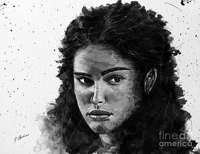 Girl Face Drawing - Rachel In Waiting by Gary Bodnar