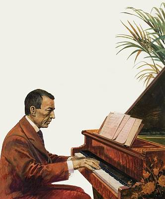 Grand Piano Drawing - Rachmaninoff Playing The Piano by Andrew Howat