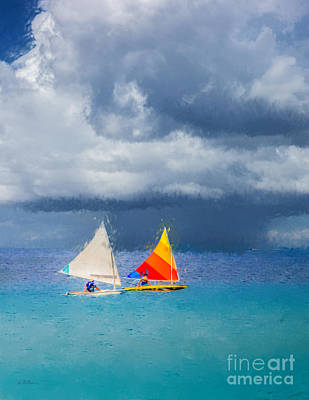 Caribbean Sea Digital Art - Racing A Caribbean Storm by Betty LaRue