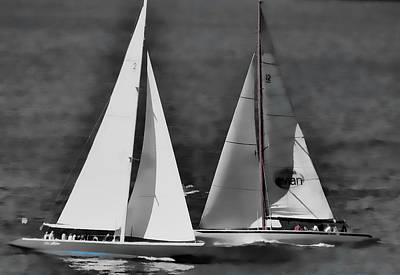 Art Print featuring the photograph Racing At Sea by Pamela Blizzard