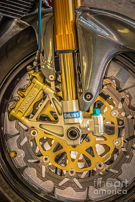 Design With Photograph - Racing Bike Wheel With Brembo Brakes And Ohlins Shock Absorbers by Ian Monk