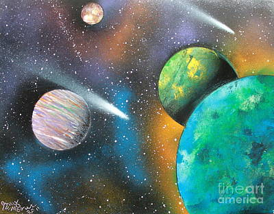 Art Print featuring the painting Racing Comets by Greg Moores