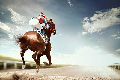 Stallion Wall Art - Photograph - Racing Horse Coming First To Finish by Olga i