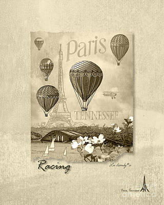 Eiffel Tower Mixed Media - Racing In Sepia by Lee Owenby