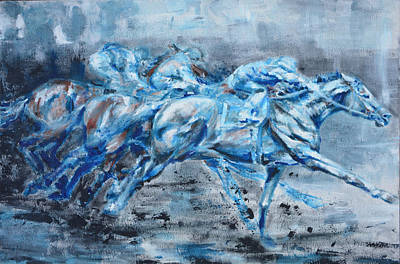 Kentucky Derby Painting - Racing by Jennings Ingram