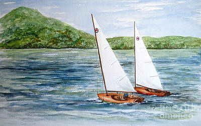 Painting - Racing On The Lake by Nancy Patterson