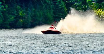 Muskoka Photograph - Racing Speed Boat by Les Palenik