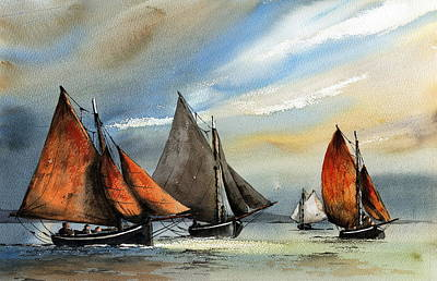 Painting - Racing To The Finish by Val Byrne