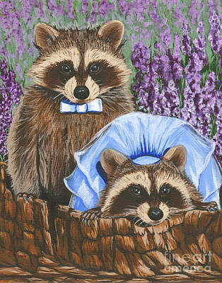 Painting - Racoon Love by Gail Finn