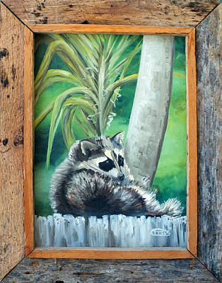Painting - Racoon On The Fence Framed by Chris  McCullough