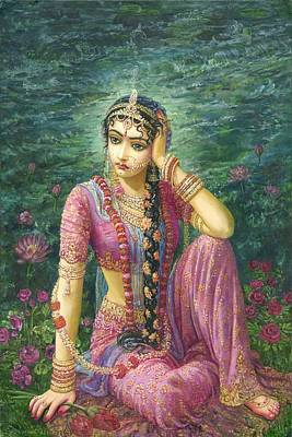 Swan Goddess Painting - Radha Alone by Syamarani Dasi