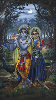 Radha And Krishna On Full Moon Art Print by Vrindavan Das