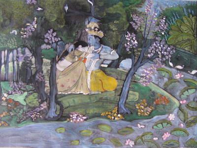 Art Print featuring the painting Radha And Krishna by Vikram Singh