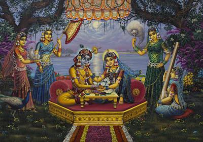 Temple Painting - Radha Krishna Bhojan Lila by Vrindavan Das