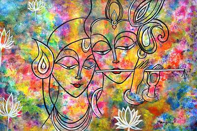 Painting - Radha Krishna Holi Abstract by Manjiri Kanvinde