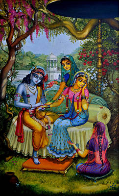 Painting - Radha Krishna Man Lila On Radha Kunda by Vrindavan Das