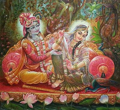 Radha Krishna Art Print by Mayur Sharma